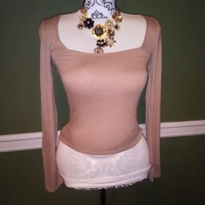 Nude beige long sleeve crop top from Forever 21.